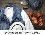 layout fashionable clothes and... | Shutterstock . vector #494463967