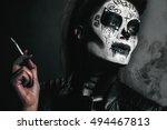 halloween costume girl... | Shutterstock . vector #494467813