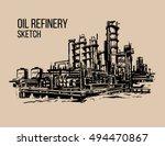 oil refinery sketch illustraton | Shutterstock .eps vector #494470867