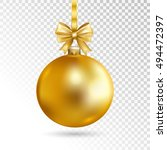 gold christmas ball with bow ... | Shutterstock .eps vector #494472397