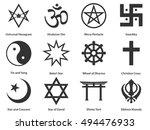 icon set of world religious... | Shutterstock .eps vector #494476933