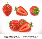 strawberry. sweet fruit. 3d... | Shutterstock .eps vector #494499637