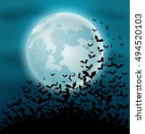 halloween night background with ... | Shutterstock . vector #494520103