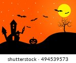 halloween night with castle ... | Shutterstock .eps vector #494539573