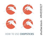 how use chopsticks. oriental... | Shutterstock .eps vector #494555527