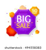 big sale autumn umbrella label... | Shutterstock . vector #494558383