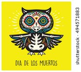 greeting card with sugar skull... | Shutterstock .eps vector #494571883