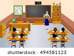 students with the teacher in...   Shutterstock .eps vector #494581123