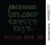 alphabet  font  letter. | Shutterstock .eps vector #494581777