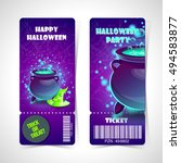 ticket halloween party.happy... | Shutterstock .eps vector #494583877