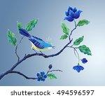 decorative bird hand painted... | Shutterstock . vector #494596597