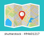 map with navigation. finding... | Shutterstock .eps vector #494601217