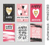set of 6 cute creative cards... | Shutterstock .eps vector #494601583