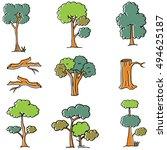 doodle of tree set different... | Shutterstock .eps vector #494625187