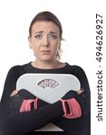 unhappy looking woman holding... | Shutterstock . vector #494626927