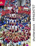 Small photo of TARRAGONA, SPAIN - OCTOBER 2016 - Those typical catalan human towers are performed. The XXVI Tarragona Human Tower Competition on October 1, 2016 in Tarragona, Spain.