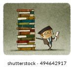 graduate leaning on a stack of... | Shutterstock . vector #494642917