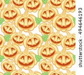 seamless pattern with jack o...   Shutterstock . vector #494646193
