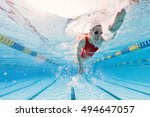 professional woman swimmer... | Shutterstock . vector #494647057