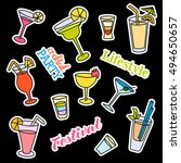 fashion patch badges. cocktail...   Shutterstock .eps vector #494650657