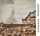 old brick wall with crumbling... | Shutterstock . vector #494656387