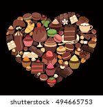 chocolate desserts in the shape ... | Shutterstock .eps vector #494665753