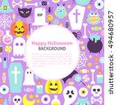 happy halloween trendy...   Shutterstock .eps vector #494680957