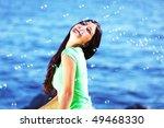 woman relax blue sea | Shutterstock . vector #49468330