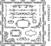 decor luxury art ornate set on... | Shutterstock .eps vector #494692627