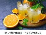 fresh organic orange juice in... | Shutterstock . vector #494695573