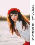 beautiful long hair brunette in ... | Shutterstock . vector #494702683