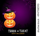 halloween pumpkins on dark... | Shutterstock .eps vector #494708593