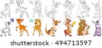 cartoon animals set. zebra ... | Shutterstock .eps vector #494713597