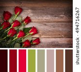 red rose buds over old wood... | Shutterstock . vector #494716267