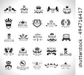 royal logo set   isolated on... | Shutterstock .eps vector #494716417