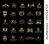royal logo set   isolated on... | Shutterstock .eps vector #494716723