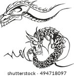 set of two black and white...   Shutterstock .eps vector #494718097