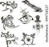 set of black and white tribal... | Shutterstock .eps vector #494718127