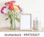 mockup with a beautiful bouquet ... | Shutterstock . vector #494723317