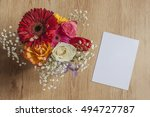 mockup with a bouquet of spring ... | Shutterstock . vector #494727787