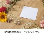 mockup with spring flowers and... | Shutterstock . vector #494727793