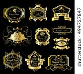 golden labels set   isolated on ... | Shutterstock .eps vector #494727847