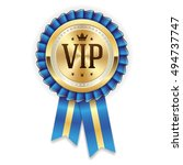 gold vip member rosette with... | Shutterstock .eps vector #494737747