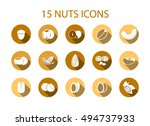 Nuts Icons With Long Shadow