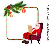 christmas frame santa claus... | Shutterstock .eps vector #494747317