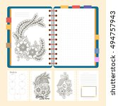 flat design opened notepad with ... | Shutterstock .eps vector #494757943