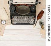 antique typewriter and vintage... | Shutterstock . vector #494772853