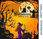 halloween night background with ... | Shutterstock .eps vector #494773057