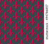 Red And Gray Fleur De Lis...