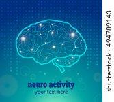 human brain logo neurology... | Shutterstock .eps vector #494789143